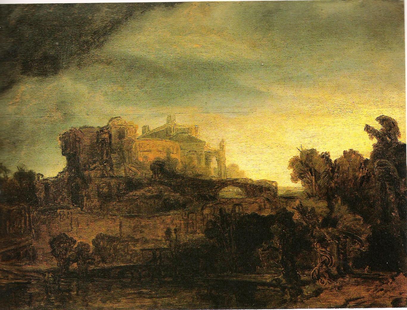 Landscape with a castle, Rembrandt
