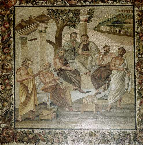 Plato conversing with his pupils, mosaic from Pompeii, 1st century BCE