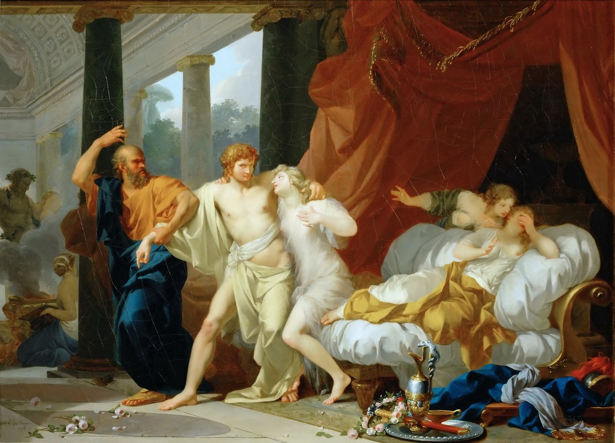 Socrates dragging Alcibiades from the Embrace of Sensual Pleasure - Jean-Baptiste Regnault