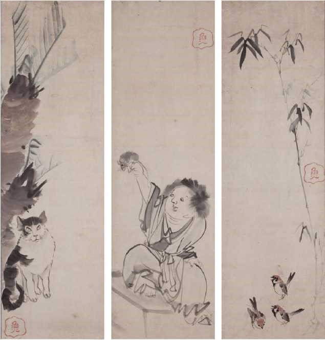 Cat, Boy, and Sparrows - Rosetsu