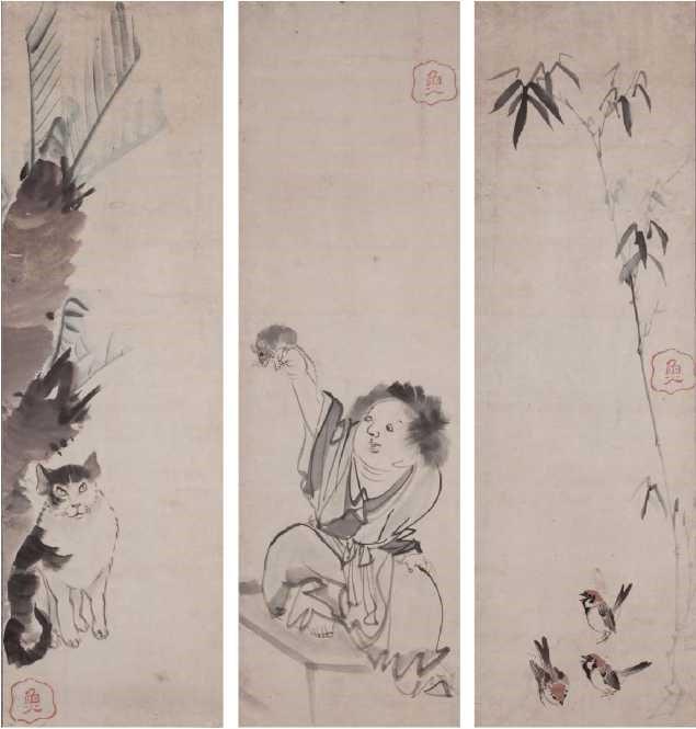 Cat, Boy, and Sparrows - Rosetsu