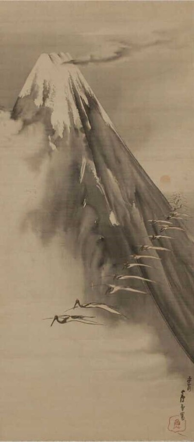Cranes Flying Past Mt Fuji - Rosetsu
