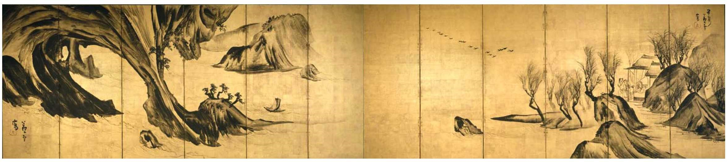 Landscapes with the Chinese Literati Su Shi and Tao Qian - Rosetsu