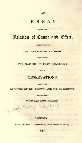 Essay upon the Relation of Cause and Effect - Mary Shepherd