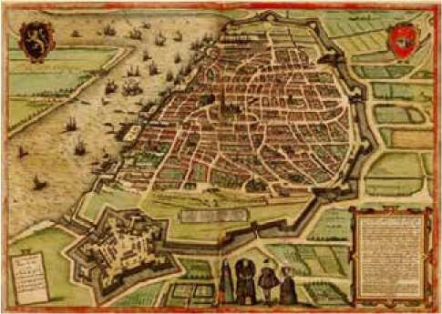 Mapa de Amberes - Georg Braun, Franz Hogenberg - 1575